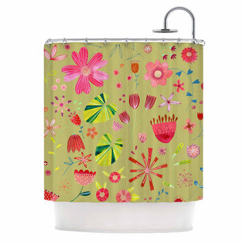 """Nic Squirrell """"Wild Meadow"""" Olive,Pink,Floral,Digital,Illistration,Red Shower Curtain"""