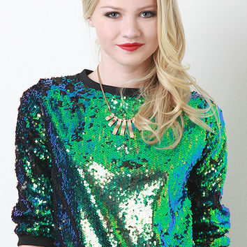 Iridescent Sequin Pullover Top