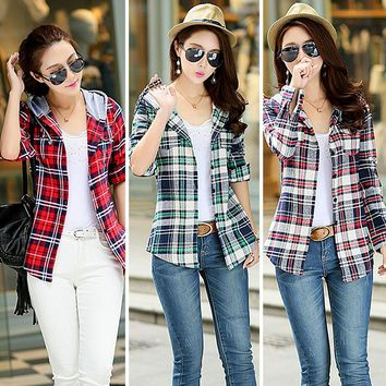 Hoodie Shirt Autumn Red Checked Plaid Sweatshirt Shirt Women Hoodie Long Sleeve Casual Fit Blouse Plus Size