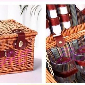BETOHE Vintage Christmas Gifts for Family Home Storage Wicker Picnic Basket Hotsale as New Year Gift