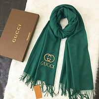 GUCCI  Popular Women Men Embroidery Logo Letter Accessories Cape Scarves Scarf(3-Color) Green I-TMWJ-XDH