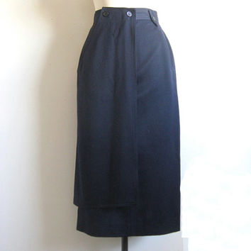 Vintage 1980s Wool Skirt Laurel Navy Blue Wool Straight Skirt 10
