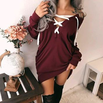 ONETOW Women Fashion Solid Color Off Shoulder Bandage V-Neck Long Sleeve Middle Long Section Sweater Dress