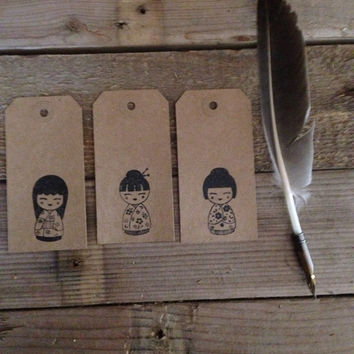 Geisha stamped gift tags