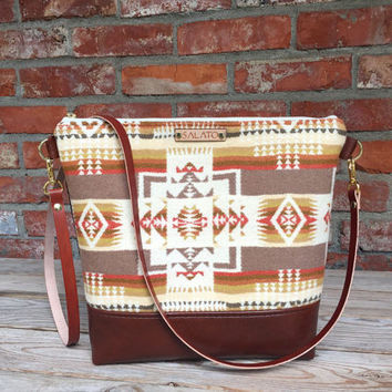 Portland Wool and Brown Leather  Cross body, Crossbody Purse, Crossbody Bag, Leather Crossbody, Messenger Bag, Wool Purse, Brown Leather