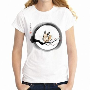 Women's T Shirt Pokemon Eevee Under The Moon Gaming Gamer Girl's Tee