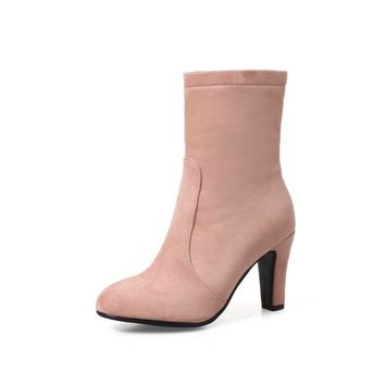 Suede Zip High Heels Boots for Women 8151