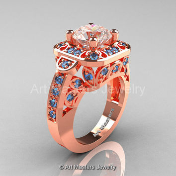 Art Masters Classic 14K Rose Gold 2.0 Ct Morganite Blue Topaz Engagement Ring Wedding Ring R298-14KRGBTMO