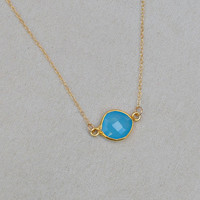 Blue chalcedony necklace - round turquoise gemstone bezel set in gold vermeil - minimalist gemstone jewelry - Deepika
