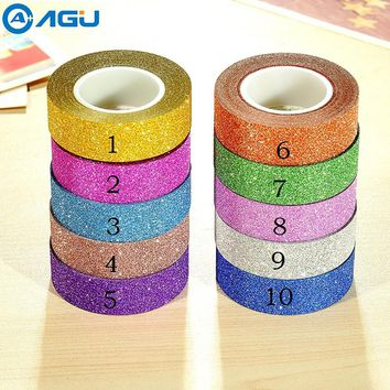 Fashion style 15mm beautiful DIY adhesive glitter  washi tape for DIY