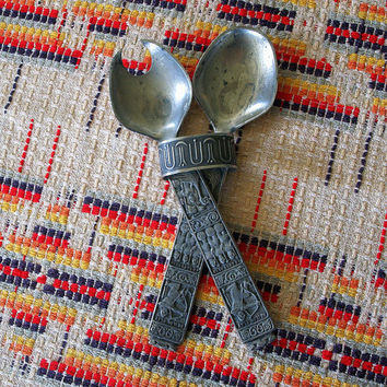 1960s SCANDINAVIAN SALAD SERVERS Vintage Mid Century Modern Viking Ship Serving Utensil Decorative Decor Pewter Norway Danish Modern Design