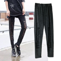2017 summer leggings for women fitness leggings women punk hole hollow out Sexy legins  workout jeggings Women's Clothing