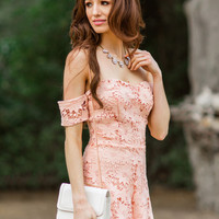 Bella Peach Lace Off the Shoulder Romper