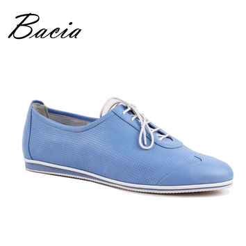 Women Genuine Leather  Flats Blue Holes Shoes For Women Handmade Shoes Rubber Sole