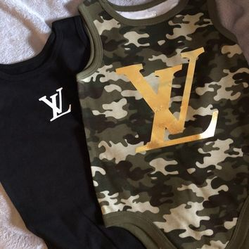 Inspired Set of 2 Louis Vuitton Baby Onsies- Size 24M Camoflauge Baby Onsie