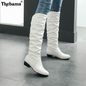 Big Size 34-43 Fashion Knee High Boots Square Heels Add Warm  Winter Riding Boots Women Shoes Woman Black White