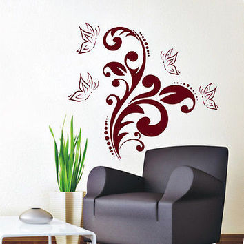 Wall Decals Butterfly Flower Decal Bedroom Nursery Room Sticker Decor Art MR584