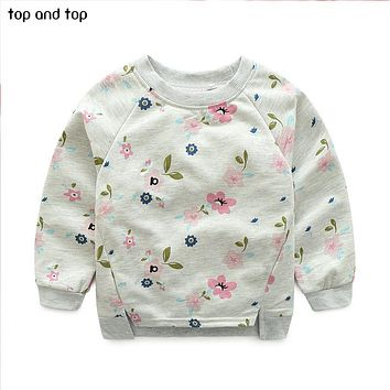 Children Girls Clothing Long Sleeve Flowers T-shirt  Kids Girl Cotton Floral Top  Clothes