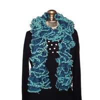 Handmade Knitted Blue Ruffle Scarf