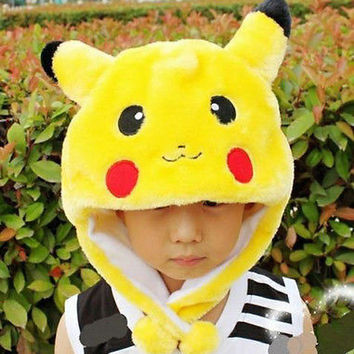 Adults Costume Pokemon Pikachu Stuffed Animal Cap Hat Plush Beanie Caps Cosplay  Women Men's Children Kids Boys Girls Hat