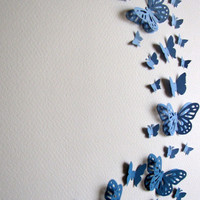 French Blue 3D Layered Butterfly Art. Home Decor. Country Blue. Sky. 8x10 inches. Made to Order