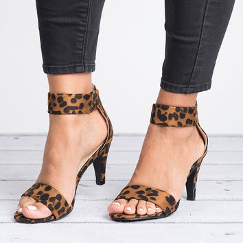 Ankle Strap Sandals - Leopard