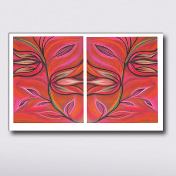 Modern Red Pink wall decor - 2 Piece  Art Prints, Abstract Large Print Flowers Tulips, Wall & Home Decor, Vibrant color High quality Prints