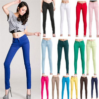 Fashion Women Ladies Casual Pencil Skinny Leg Slim Jeggings Pants Stretchy Jeans