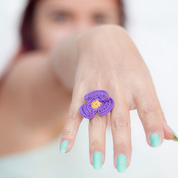 Crochet Lace Violet Ring - Adjustable Puprle Violet  Ring - Statement Ring - Jewelry Handmade - Fiber Art Jewelry
