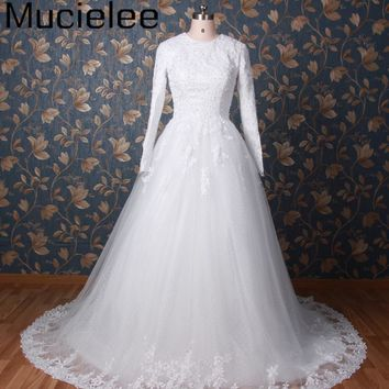 Mucielee Real islamic Wedding Dress Long Sleeve Muslim Wedding Dress 2017 Vintage Bridal Gowns Lace Cheap China Wedding Dress