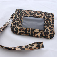Zip ID Case Wallet Coin Holder Pouch animal print cheetah leopard MADE to ORDER