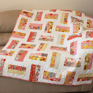 Modern Lap Quilt or Sofa Throw in Moda 2wenty-Thr3e Fabric in Mustard Yellow, Pink, Gray and Parchment by Comstock Cricket Contemporary