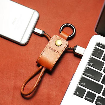Leather Keychain Cable