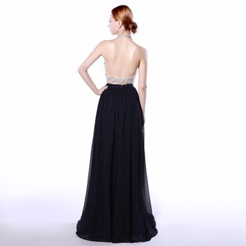 A-Line Purple two piece evening dress Long Halter Beaded Backless Formal Party Pageant Dress