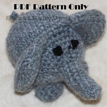 PDF Crochet Pattern - Simple Amigurumi Elephant Stuffed Animal