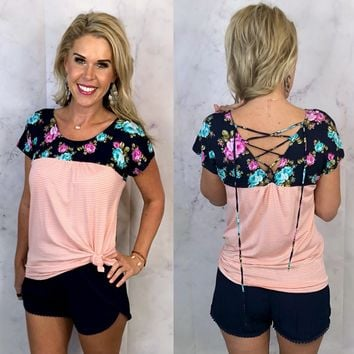 Floral Criss Cross Back Top: Pink