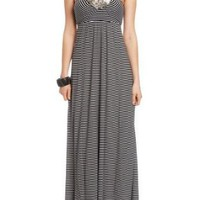 Amazon.com: 2B Anya Stripe Tie Back Maxi Dress: Clothing