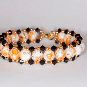 Orange and white beaded bracelet Orange crystal bracelet Swarovski crystal bracelet Handmade bracele tGlass beads bracelet