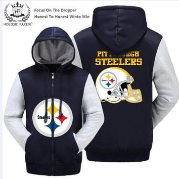 Dropshipping USA Size Pittsburgh Steelers Winter Thicken Fleece Coat Hooded Zipper Sweatshirt Jacket Costume Made Men Women