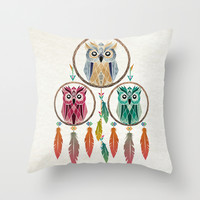 dream owl Throw Pillow by Manoou