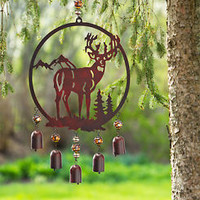 Rustic Woodland Deer Wind Chimes Bells Outdoor Wildlife Yard Garden Home Decor