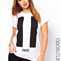 ASOS CURVE Boyfriend T-Shirt with Pause Print at asos.com