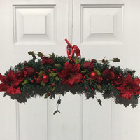 Floral Christmas decor, floral Christmas swag, red Christmas door hanger, Holiday door decor, poinsettia door hanger, evergreen door hanger