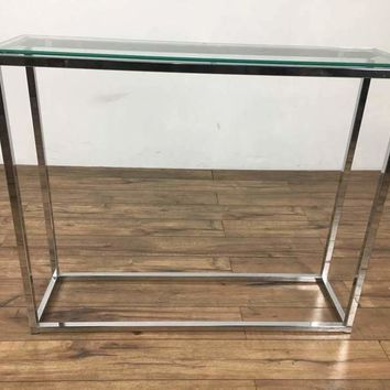 Contemporary Glass and Chrome Console Table
