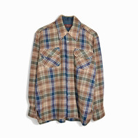 Vintage 80s Brown & Navy Plaid Work Shirt - 1980s Woodsman Shirt