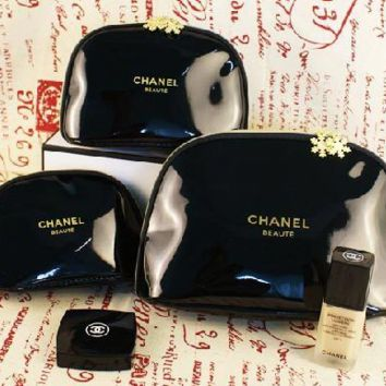 CHANEL popular patent leather receive waterproof large size medium size small gift cosmetic bag