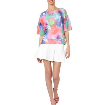 Isaac Mizrahi New York Multi-Color Print Pullover Top