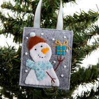 Turquoise blue and brown wool and felt snowman ornament, hand embroidery, Christmas tree decoration