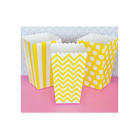 Popcorn Boxes - Yellow Chevron Polka Dot or Stripe for Candy Bar - Wedding Favors Party Favor