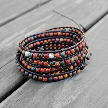 Leather Bracelet Agate Beads Wrap Bracelet Charm Bracelet Leather Wrap Bracelet 4mm Beaded Bracelet with Brown Leather Cord